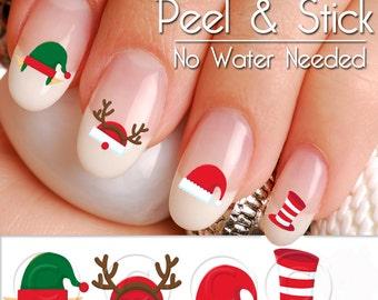 Christmas Santa and Elves Hats Nail Art Decal Sticker Set