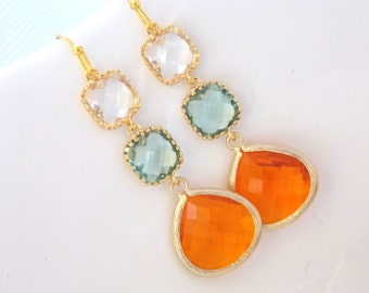 Orange Earrings, Green Earrings, Clear, Tangerine, Soft Green, Light Green, Carnelian, Glass, Gold, Bridesmaid Earrings, Bridesmaid Gifts