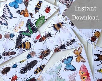 DIY Insects Bunting - Digital - Printable PDF - School Room Art, moths, Butterflies, Bees, Beetles, Montessori, Watercolor