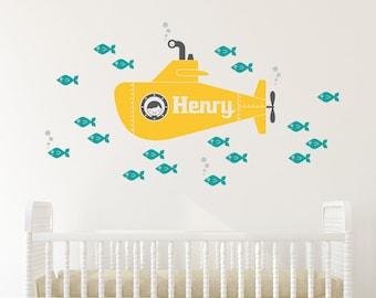 Yellow Submarine Boy Wall Decal Personalized Name Ocean Baby Nursery Underwater Sea Life Kids Room Decor