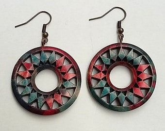 Colored wood geometric circle earrings