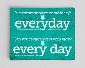 Grammar English Everyday versus Every Day Print Gift Teacher Gifts for Teachers Typographic Print English Gifts Gag Gift Office Decor