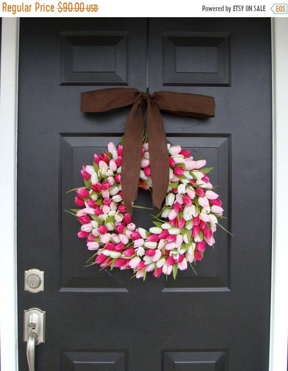 SUMMER WREATH SALE Silk Tulip Valentine's Day Wreath- Valentine's Day Wreaths- Valentines Day Decoration- Valentines Day Decor- Tulip Wreath