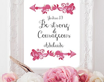 BABY GIRL BAPTISM gifts, new baby keepsake, dedication gift, personalized blessing, Godparents gift, Scripture art, Christian prayer, Arrows