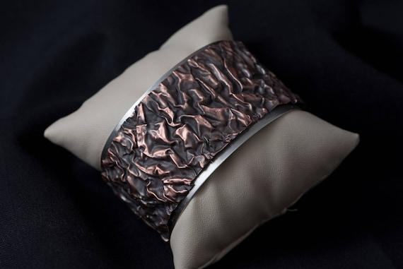 Copper on Sterling Silver Wide Cuff Bracelet.