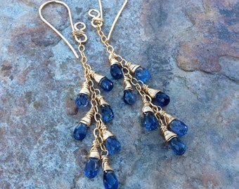 KYANITE Earrings, blue Kyanite Jewelry, 14k gold filled earrings, handmade earrings, artisan jewelry, blue gemstone earrings