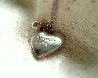 Necklace, stainless steel chain, medallion, Heart medallion, medallion necklace, puff flowers, Dandelion, I love you