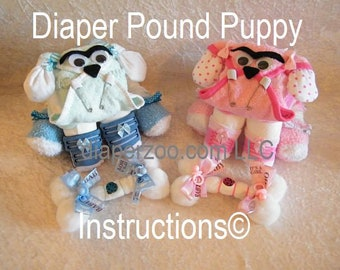 Instructions to make this adorable Diaper Dog centerpiece. GR8 for baby shower gift diaper cake topper keepsake