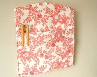 Handmade pink floral vintage fabric clothespin peg bag laundry room storage