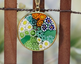 23mm Murano Millefiori Pendant 24K Italian Gold Plated Sterling Silver - GRNG2#