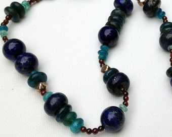 Lapis and apatite and garnet oh my necklace