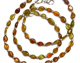 Natural Gemstone Multicolor Grossular Garnet Smooth 7x5MM Approx. Nugget Beads 22.5 Inch Full Strand Very Rare Gem Beads Finished Necklace