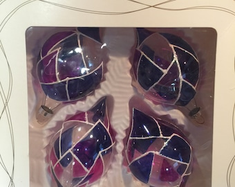 Glass Purple and Blue Ornaments