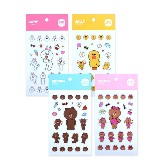 Line friends character mini clear ln stickers official goods scrapbooking deco naver goods stickers dairy planner from madeinhans on etsy studio