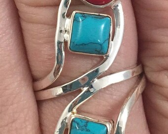Red and Blue Sterling Ring