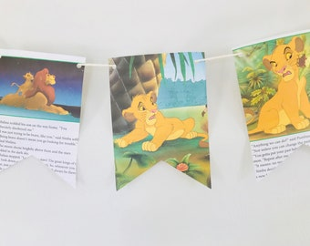 Lion King Story Book Pages Bunting Pennants Nursery Decor Baby Shower Birthday Party Garland Flags