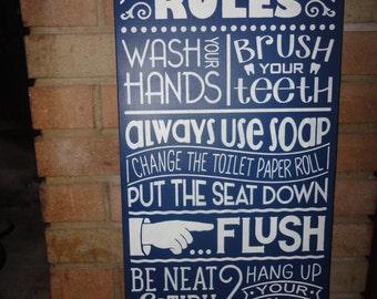 High Quality Navy BATHROOM Sign /Home Decor Sign/Bathroom Rules/ Hand Painted Sign  /Bathroom