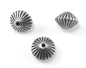 Fluted Spacer Bead - Silver Pewter Bead - Antique Silver Bead - Lead Free Bead - Antique Silver Bead - Bead Findings - 5.5x8mm - PWT46S
