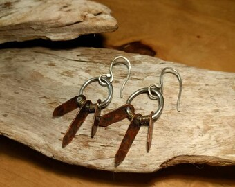 Sterling hoops with hammered copper, Mixed metal earrings, Silver and copper dangle earrings, InnerSunCreations