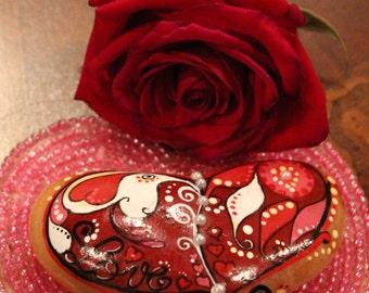 Hand painted bohemian love heart stone