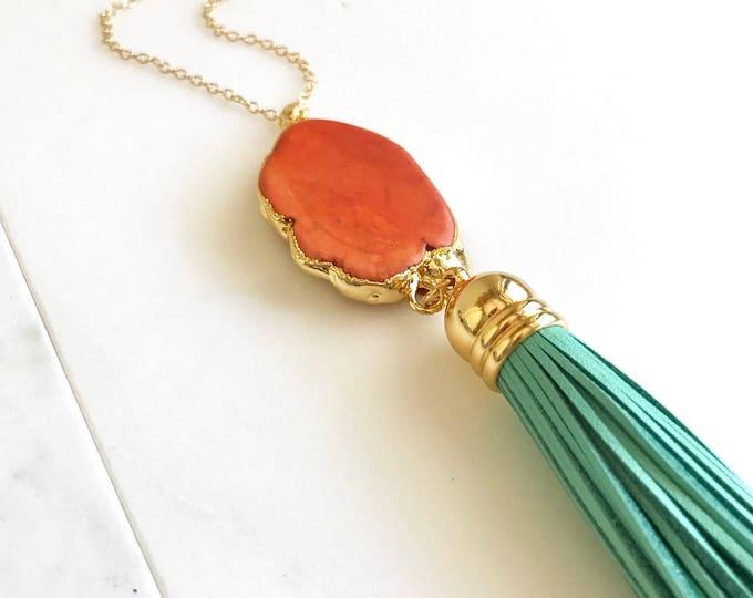 Tassel Necklace. Leather Tassel Necklace. Turquoise and Orange Tassel Necklace. Long Tassel Necklace. Boho Tassel Jewelry. Turquoise Jewelry