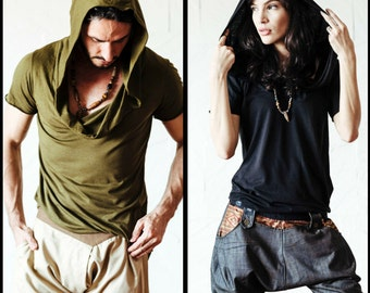 Hooded bamboo cotton T-shirt with asymmetric cuts  - Modern hippie style hoodie for urban look