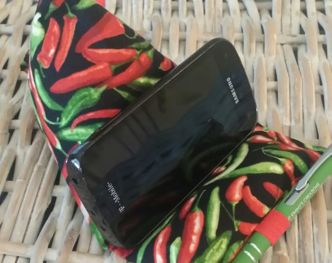 Gadget Bags-Cell Phone Stand-Cell Phone Pillows-Culinary Collection (Red n' Green Hot Peppers)