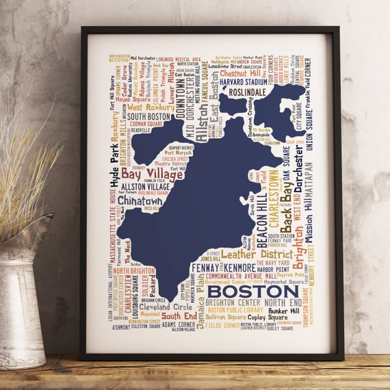 Boston Typography Map Art Print Boston Poster Print Boston