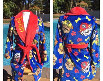 Toddler Boy Paw Patrol Chase, Rubble & Marshall Bath Robe - Personalized Monogrammed