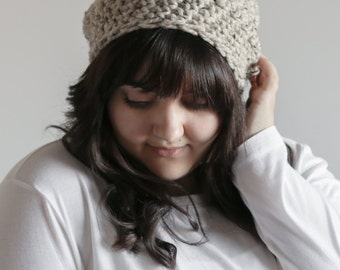 Slouchy Beanie Chunky Crochet Hat | THE TOFT in Oatmeal