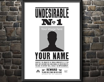 Harry Potter Inspired Poster - Custom Printable - Undesirable No.1 Movie Poster
