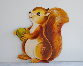 printed squirrel cutout, vintage classroom decoration, vintage paper animal cutout, forest animal decoration, bulletin board cutout, large