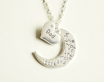 Dad Gift, Dad Birthday, Dad Necklace, Personalized Dad Gift, Dad Charm necklace, Love you to the moon gift, Dad Pendant, Father,Father's day