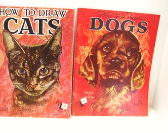 Walter T Foster Art Books How To Draw Cats and Dogs No.10 and 13 - Color Cover and Centers