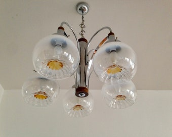 Chandelier 5 lights - opaline glass, chrome and wood - Mazzega - 1970 - Italy