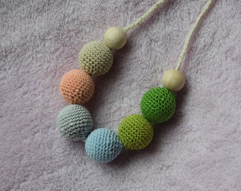 Crochet Nursing Necklace/Breastfeeding Necklace / Teething necklace with crochet beads green grey beads/ nursing necklace/ handmade beads
