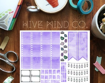 Crystal Theme Stickers in Purple / Erin Condren Planner Stickers/ Printable Planner Stickers/ Printable Erin Condren Stickers