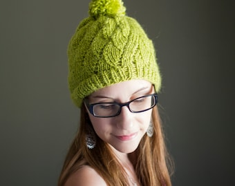 Fall Knitted Pom Beanie // Lime Green Chartreuse Toque // Winter Acrylic Wool Blend Handmade Hat // Ready to Ship
