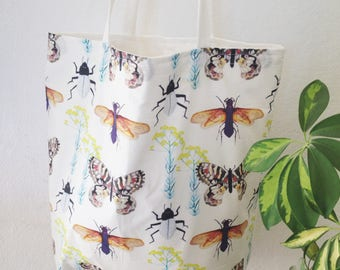 Large Fully Lined Insects & Butterflies Tote Bag / Shopping Bag / Beach Bag / Weekend Bag / Book Bag