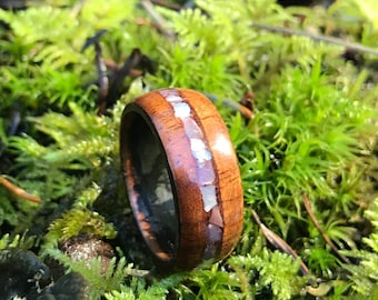 Koa with Mother of pearl inlay womens wood ring wood wedding band wooden ring mens wood wedding band koa wood ring womens wood wedding band
