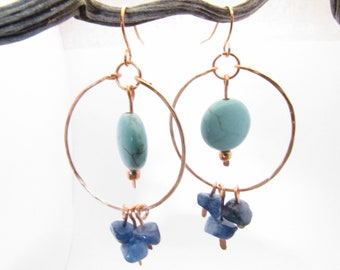 copper hoops with turquoise and blue agate stones