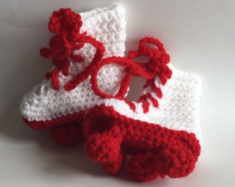 Roller skate baby Booties in white and red crocheted
