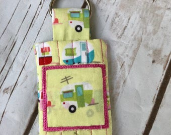 Camper Quilted Pocket Key Chain