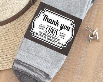 CUSTOM Groomsmen Sock labels - Groomsmen gift labels - best man gift, groomsman gift-PRINTABLE Groomsmen gift stickers - Thank you Cold feet
