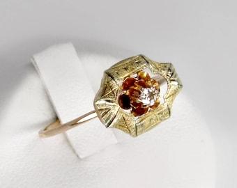 gold diamond ring, antique diamond ring, 14k gold solitaire diamond ring,  antique diamond engagement ring, wedding ring, Victorian ring