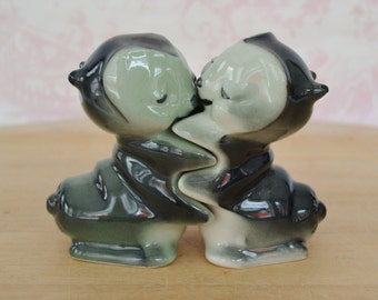 Vintage 1950s Hugging 'Love Bug' Caterpillar Salt and Pepper Shakers by Bendel