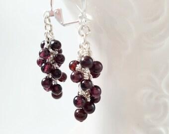 Garnet Cluster Earrings - January Birthstone Earrings - Burgundy Gemstone Earrings - Garnet Earrings - Stone Cluster Earrings
