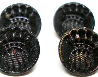 """Antique Perfume BUTTONs, 4 Victorian black velvet buttons, 1/2""""."""