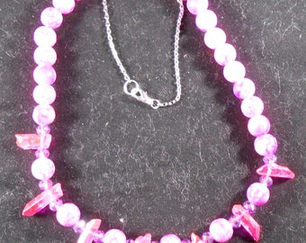 Necklace - Hot Pink Crystals & Glassbeads #1