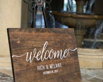 Rustic Wedding Welcome Sign // Hand Stenciled // Customizable // Wedding Gift